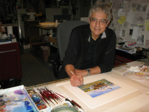 Monte Dolack working on an early color study of the painting.