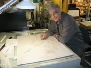 Monte Dolack working on an early sketch of the painting.