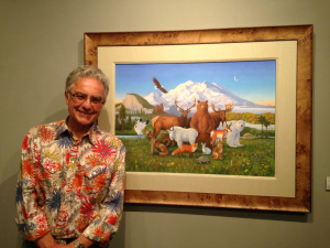 Monte Dolack with the original artwork,